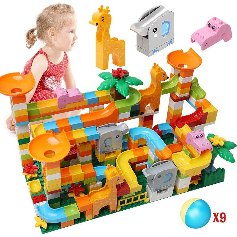 DIY Compatible Duploed Marble Race Run Slide Big Building Blocks City Funnel Maze Balls Animal Figures Bricks Toys for Children
